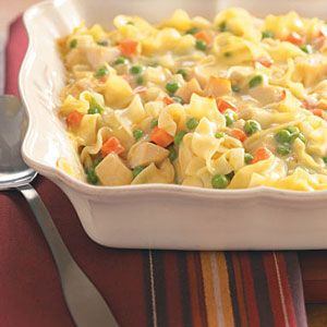 Creamy Chicken Casserole-tastes like chicken noddle soup, but more filling. Do not add cooked noddles for freezing, turned into mushy mess.