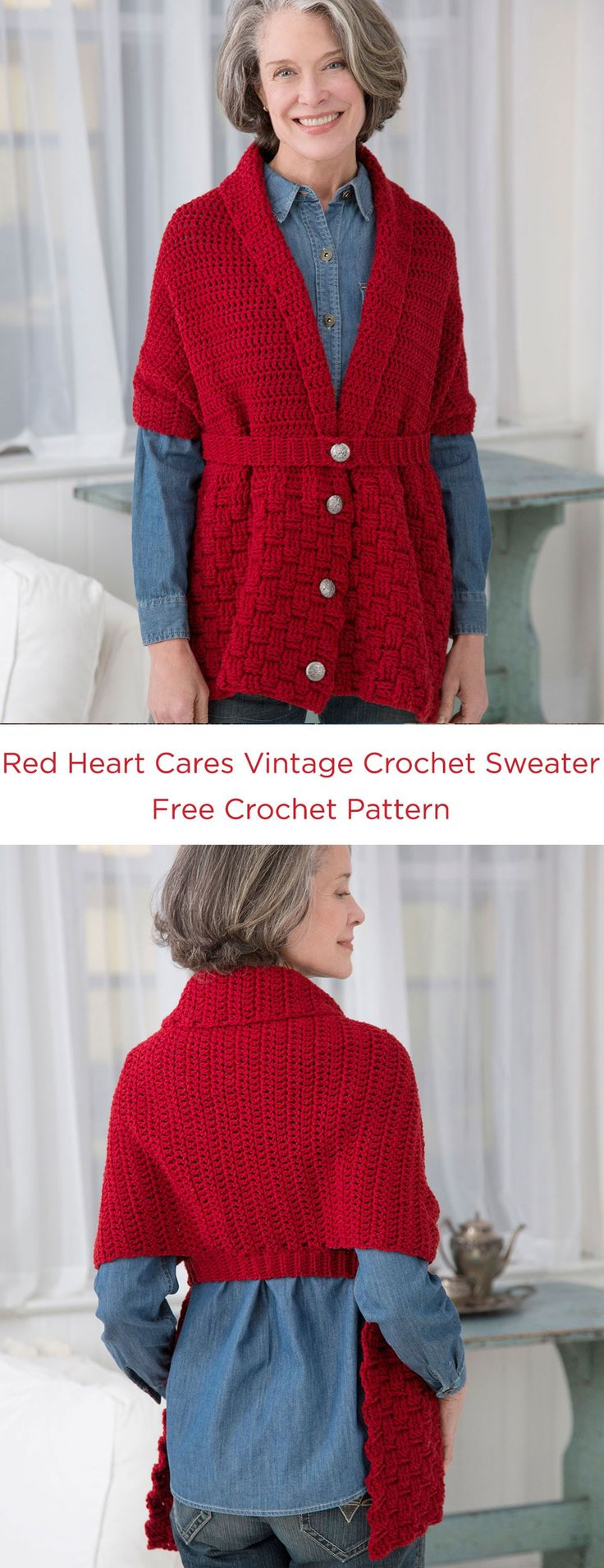 """Red Heart Cares Vintage Crochet Sweater Free Crochet Pattern in Red Heart Yarns -- This modern crochet wrap was actually inspired by a """"sweater-scarf"""" from 1917, in the early years that women supported the troops by working with the Red Cross. This easy to wear style is perfect for being active or relaxing."""