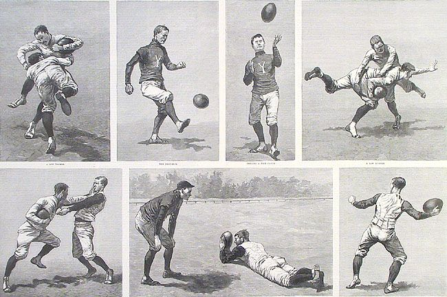 A Practice Game at Yale. By the Champion Foot-ball Eleven. By Frederick Remington. Published by Harper's Weekly. Wood engraving, 1888.