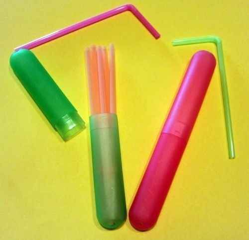 Bring straws with you in a toothbrush container.
