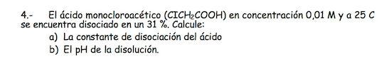 Ejercicio 4, propuesta 1, JUNIO 1999-2000. Examen PAU de Química de Canarias. Tema: ácido-base.