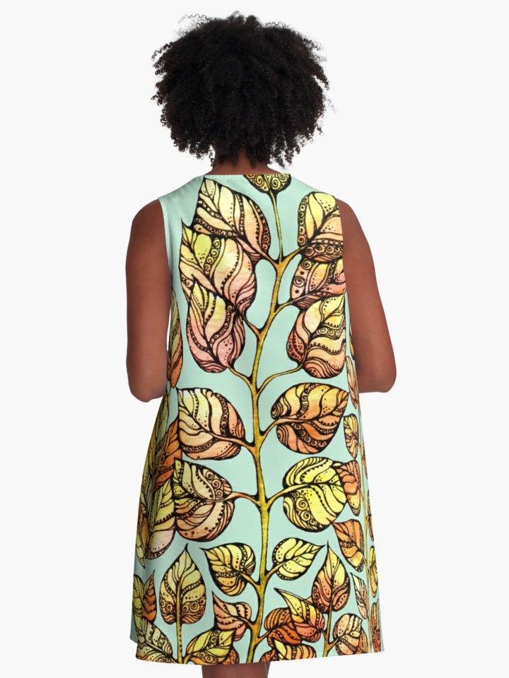 Back .Hand drawn watercolor golden leaves pattern  from kanvisstyle design  #redbubble,  #flowers , #pattern, #draw, #handdrawn, #watercolor