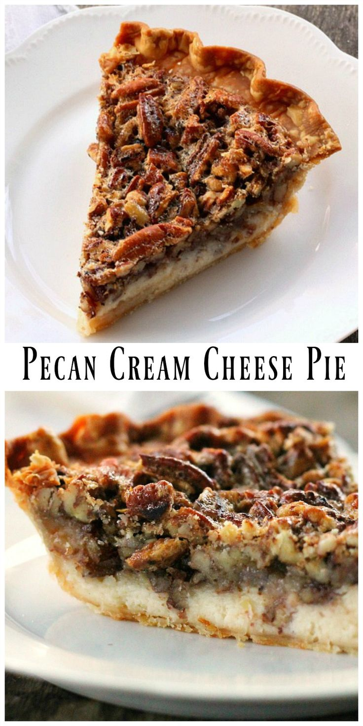 Pecan Cream Cheese Pie - With a cheese cake filling layer on the bottom and a pecan pie filling on the top, it's like having 2 pies in one. via @https://www.pinterest.com/BunnysWarmOven/bunnys-warm-oven/
