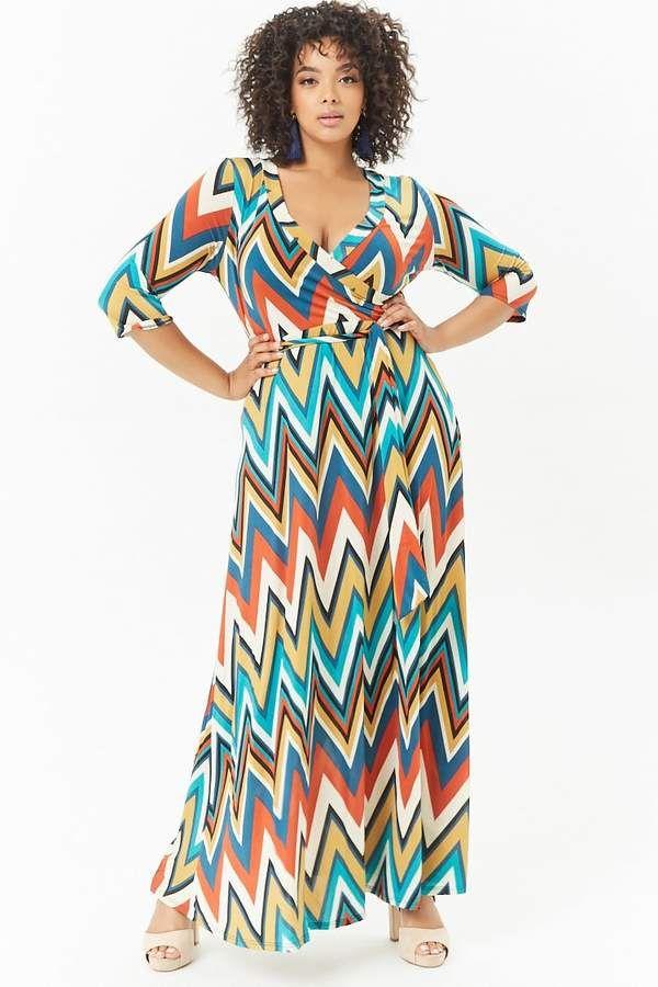 12++ Plus size chevron maxi dress info