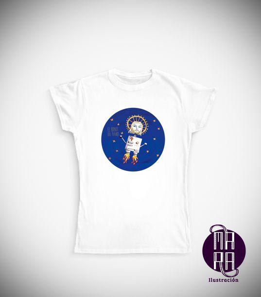 Camiseta Robot para mujer Colores disponibles: Blanco  Tallas disponibles: M  http://camaloon.es/descubre/artistas/mara-ilustracion/creaciones/black-cat-white-cat/camisetas-personalizadas/camisetas-personalizadas-mujer/productos