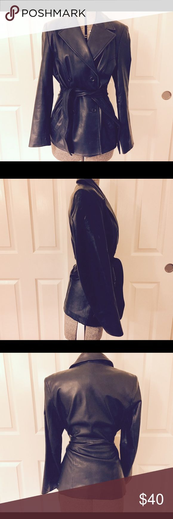 Buttery soft lambskin leather jacket coat size s Stunning  black warm and cozy buttery soft lambskin leather boat with four buttons and a waist tie excellent condition. Valerie Stevens Jackets & Coats