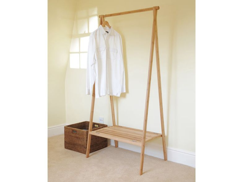 Clever idea, great for students or those in temporary accommodation. Much nicer than the metal rails. Made from environment-friendly bamboo. Decent price too. £49.95 from The Futon Company.