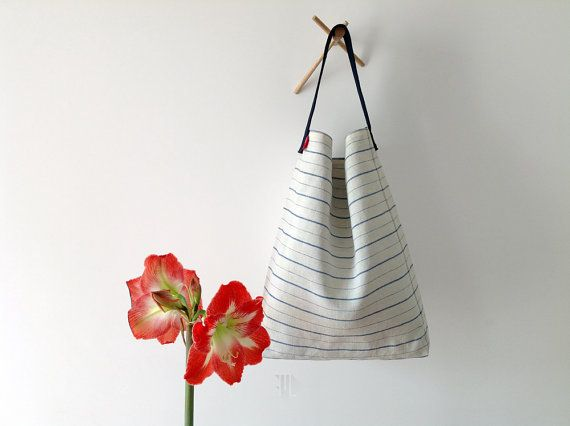 Hobo bag in vintage striped linen blend fabric bucket by FMLdesign