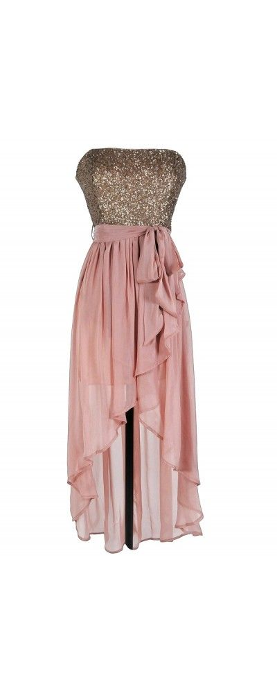 Rose Pink Sequin High-Low Strapless Dress. @svalent2 this reminds me of you!!
