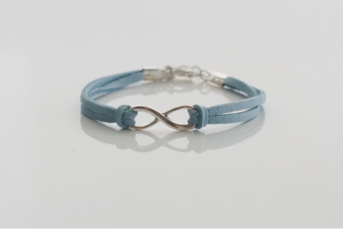 Blue or grey suede-look infinity charm bracelet by Haute and Tidy on hellopretty.co.za