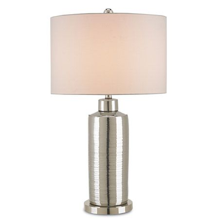 At first glance, this shiny nickel finished contemporary lamp base seems like just a shiny cylinder. But at closer inspection you see the surface is softly rippled, making for interesting reflections. The Blanco Linen shade complements the look.