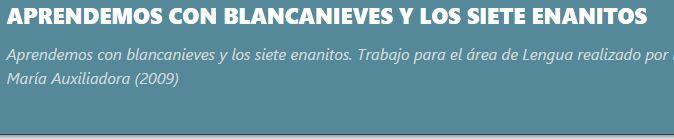 Propuesta para trabajar Blancanieves con alumnos de P5 del colegio Maria Auxiliadora de Buenos Aires