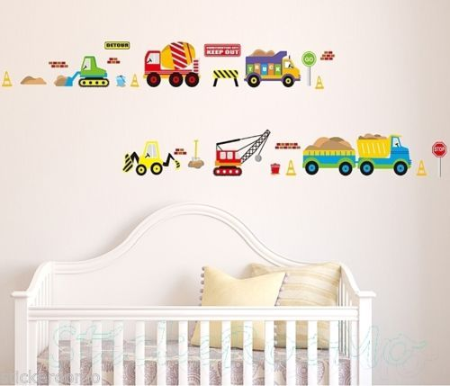 TRUCK CARS AND CRANES CHILDREN'S ROOM WALL STICKERS VINYL DECAL HOME DECORATION | eBay