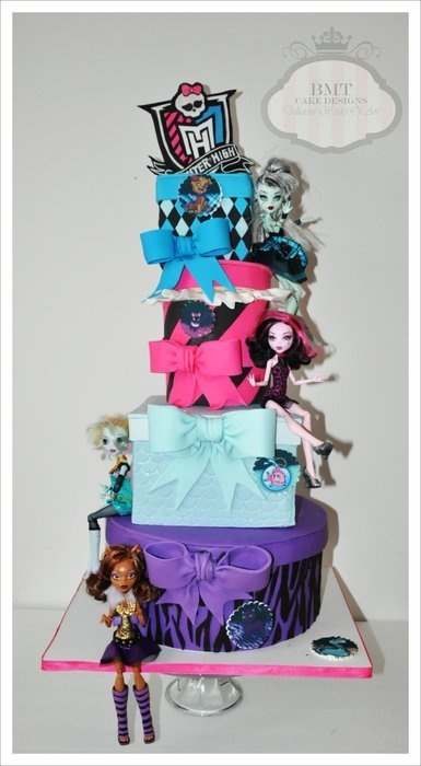 Monster High Cake - love the funky dolls/shapes of each layer