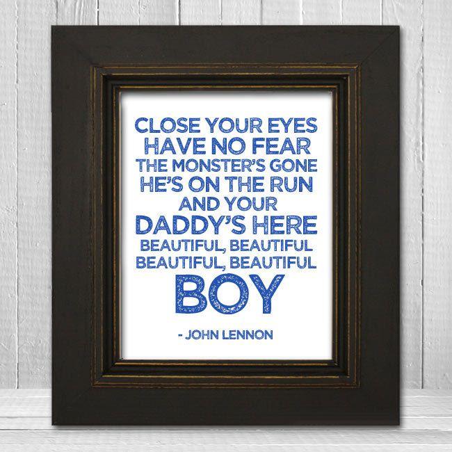 John Lennon Nursery Print 8x10 - Beatles Nursery Print - Beautiful Boy Lyrics Print - White Background Choose Text Color. $20.00, via Etsy.