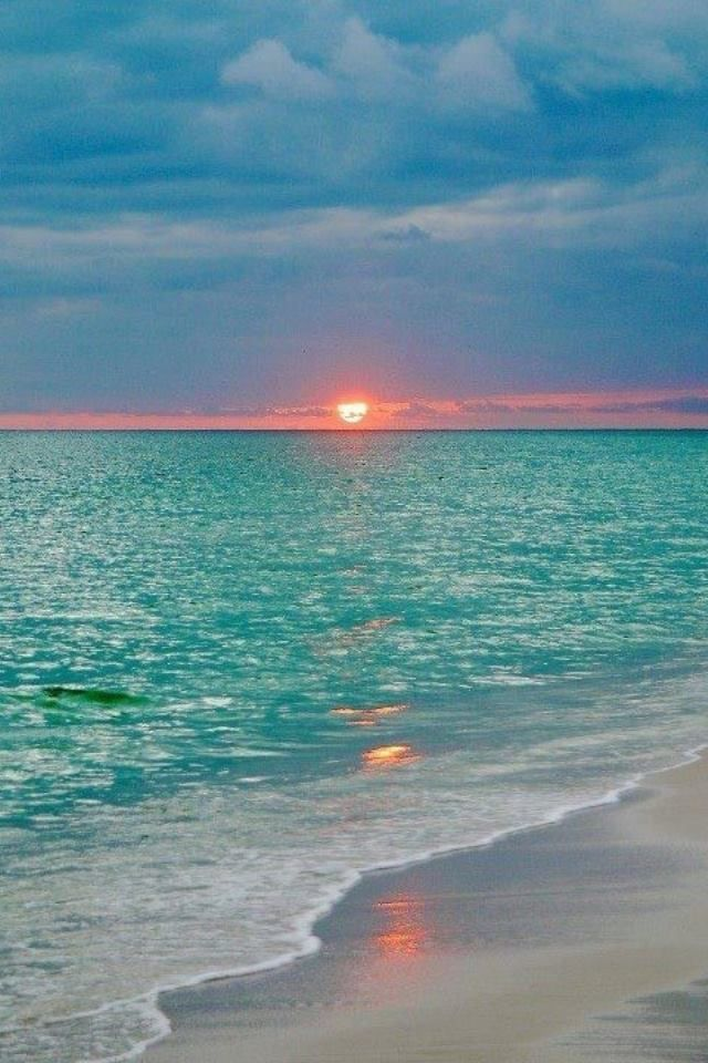 Meet me where the sun kisses the sea goodnight