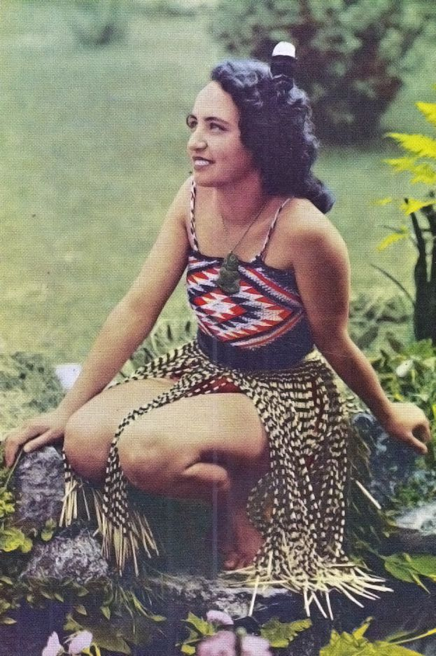 New Zealand | Maori girl in traditional dress ~ scanned postcard image; published by Reed