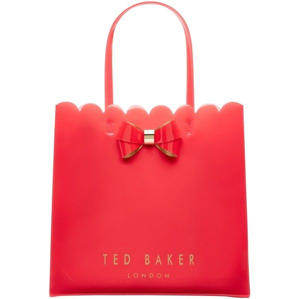 Ted Baker Scalcon Large Bow Shopper Bag (£39) ❤ liked on Polyvore featuring bags, handbags, tote bags, mid orange, red tote bag, orange tote bag, shopping bag, red tote and man bag