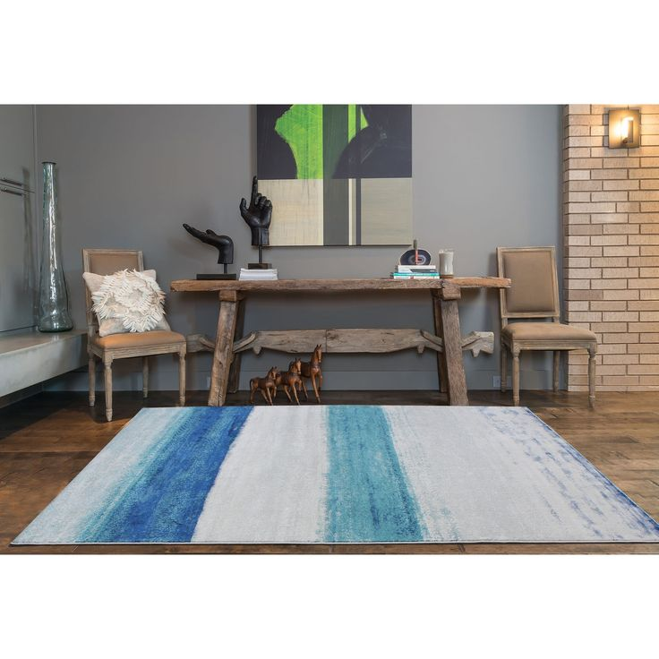Fusion Blue/Grey Gradient-effect Area Rug (7'10 x 10'6) (8x11), Size 8' x 11' (Polypropylene, Abstract)