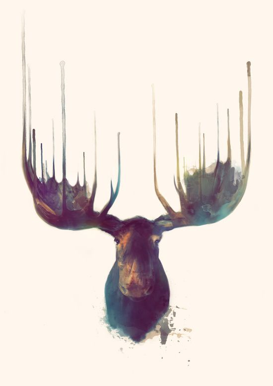 Moose Art Print. Watercolor Animal Art Print for sale for less than 30dollars. Available on different supports like t-shirts, iPhone&iPod cases, bags, hoodies, curtains, mugs and many more!