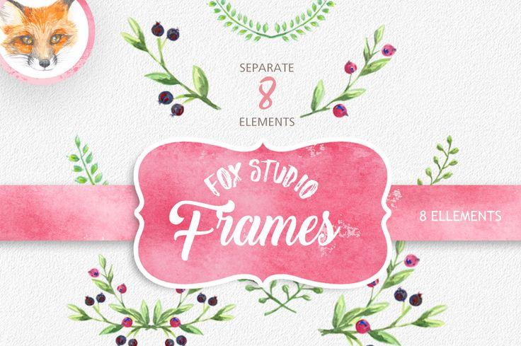 "Watercolor Floral Clipart: ""FLORAL CLIP ART"" Wedding Clip Art Clipart Watercolor berries greeting card diy clip art wedding invitation"