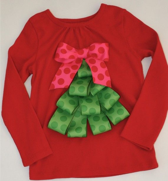 Christmas shirt from ribbon- so easy! Would be cute on onsie too