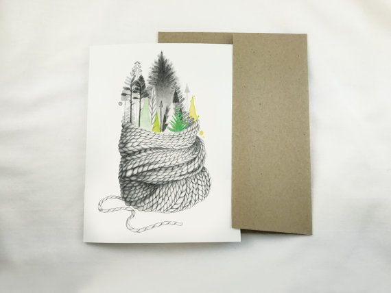 Carte de souhait Carte de voeux Carte de par KatrinnIllustration