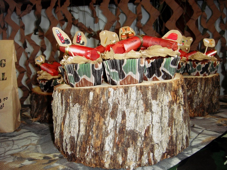 hunting themed party  camo cupcake liners found online