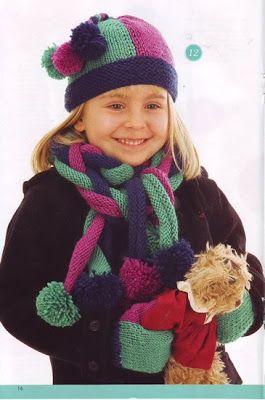 Вязание шапок для детей: Шапочка и шарф из цветных полос