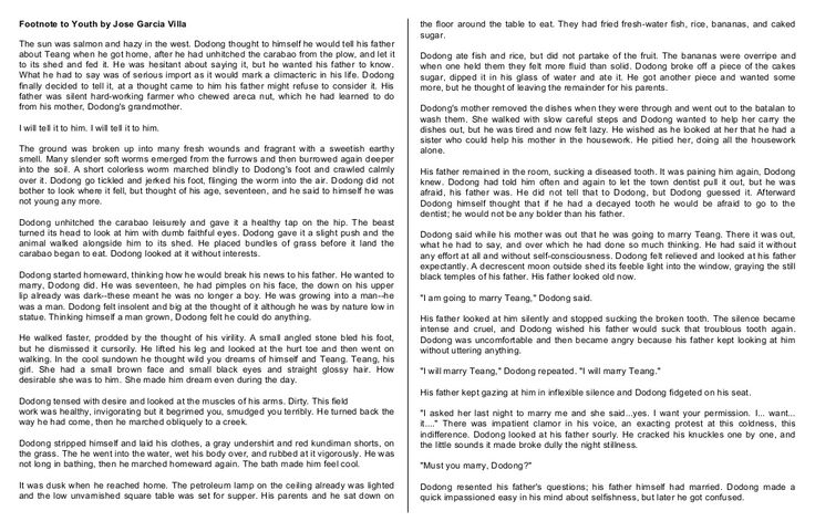 script footnote to youth (short story) footnote to youth by: jose garcia villa (reaction) life-changing footnotes by: francis gabriel concepcion in jose garica villa's footnote to youth, he tackles the responsibilities and realities that come with marriage and the family life.