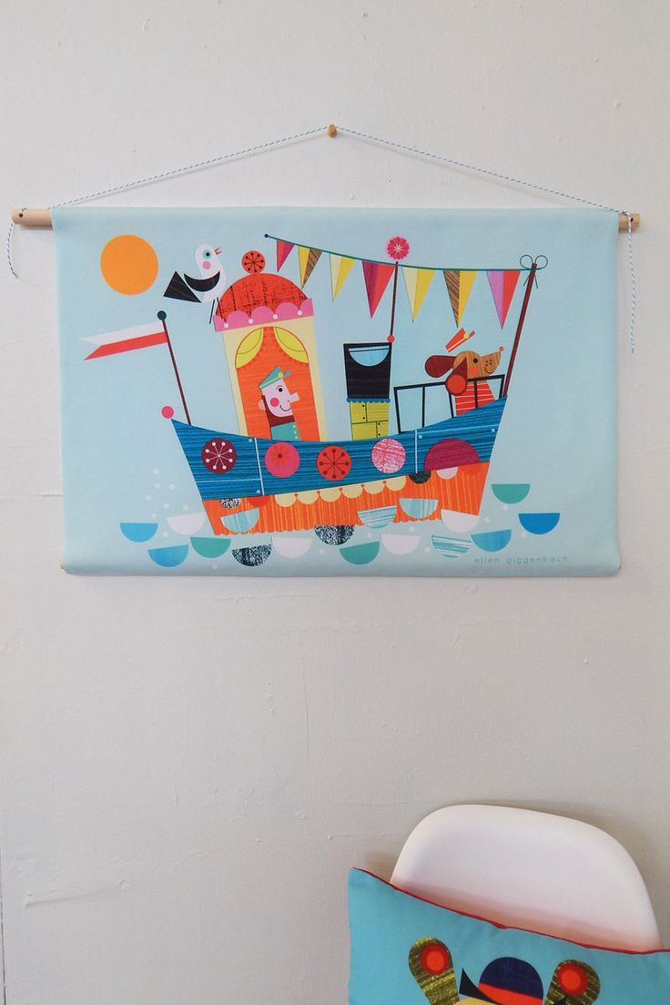 old man and the sea, fabric, wall hanging, Ellen Giggenbach by EllenGiggenbach on Etsy