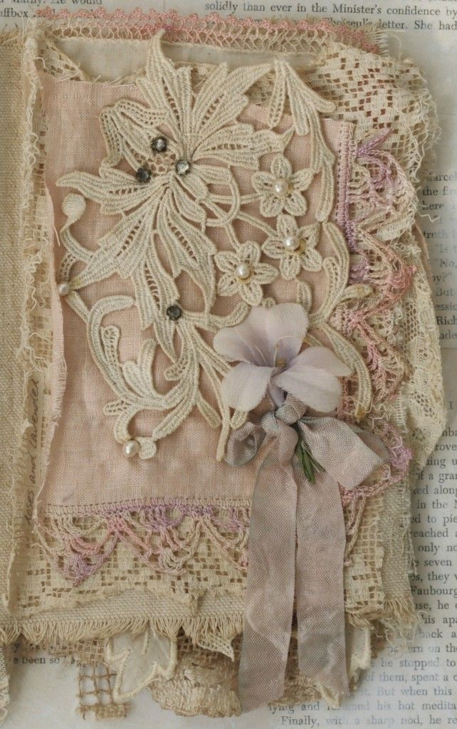 Mixed Media Fabric Collage Book of Lavender and Old Lace | eBay