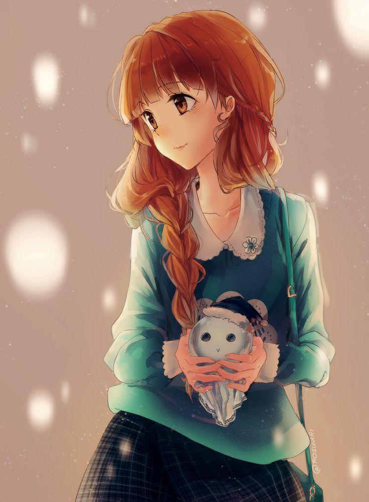 Garota Anime e seu Mascote Fofa