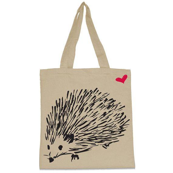 Hedgehog Canvas Tote Bag by WearMeGear on Etsy, $10.00