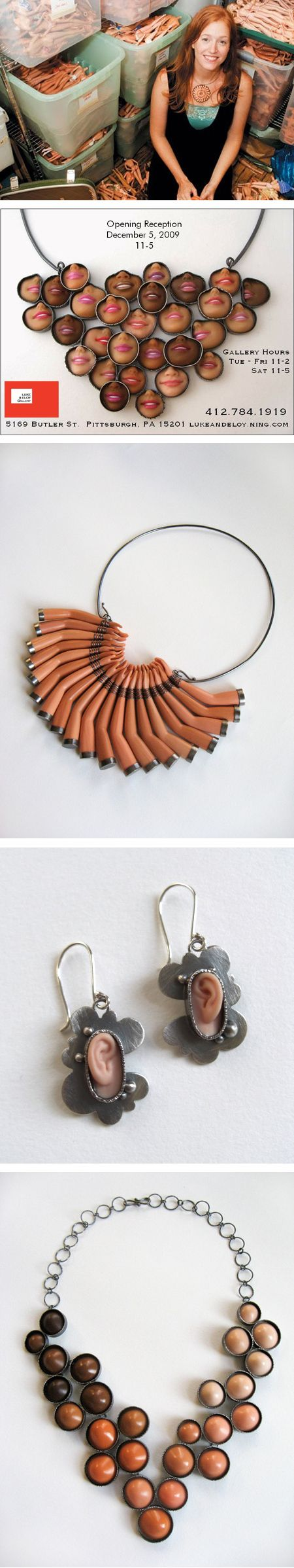 Jewelry made of Barbie parts. Like a Barbie boob necklace?//the most bizarre pin ever!!!