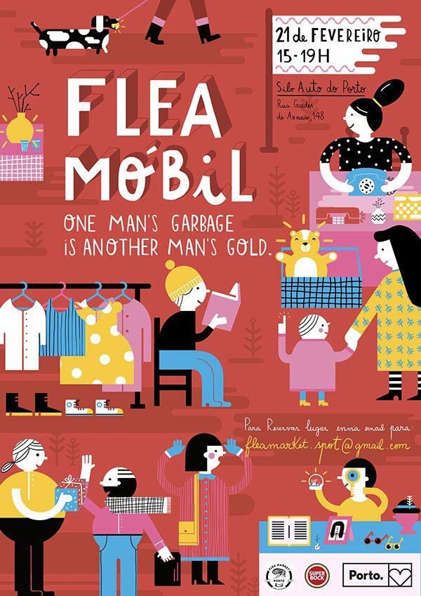 Flea Market Poster on Behance  by Ana Seixas