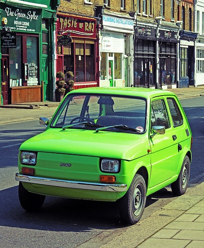 This was my first car, many many years ago. His name was Kermit. Fiat 126