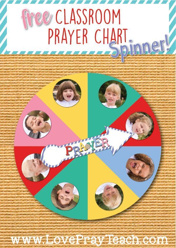 Free Classroom Prayer Chart Spinner! This is the perfect thing for Primary classes! Customize for the number of children in your class! www.LovePrayTeach.com