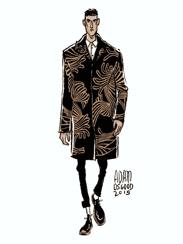 Louis Vuitton F/W 2015 by Adam Osgood Illustration.Files: Menswear Fashion Illustration Gifs by Adam Osgood