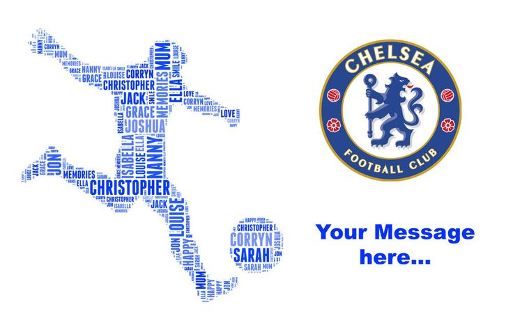 Personalised Football Team club birthday word art Gift - Chelsea Liverpool etc