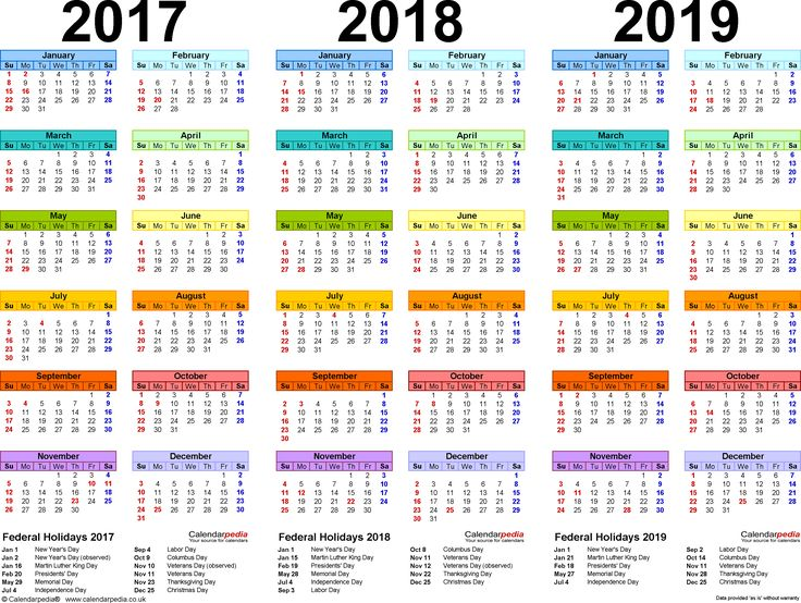 Template 1: PDF template for three year calendar 2017/2018/2019 (landscape orientation, 1 page, in color)