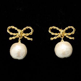 Ribbon with Cotton Pearl Earrings JUICYROCKオリジナル ピアスゴールド&コットンパール