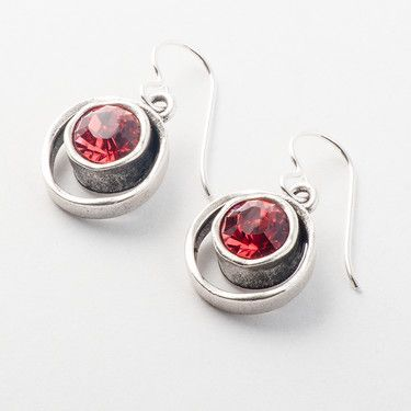 79ec1958e Features a padparadscha gemstone accent. Nickel-free, surgical steel hooks.  Patricia Locke Jewelry is handmade in Mundelein, Illinois.