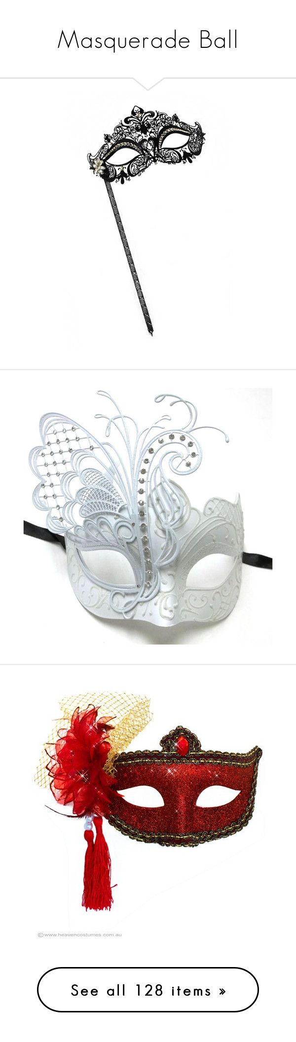 """""""Masquerade Ball"""" by sedf2 ❤ liked on Polyvore featuring mask, costumes, masks, accessories, masquerade halloween costume, elegant halloween costumes, party halloween costumes, elegant costumes, fancy costumes and angel halloween costume"""