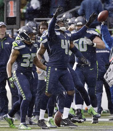 NFC Championship Football Seattle Seahawks' Byron Maxwell celebrates his interception during the first half of the NFL football NFC Championship game against the Green Bay Packers Sunday, Jan. 18, 2015, in Seattle.