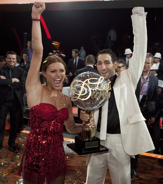 Actress Sophia Thomalla and dance partner Massimo Sinato pose after winning the final of the 'Let's Dance' TV show at Studios Adlershof on May 28, 2010 in Berlin, Germany.