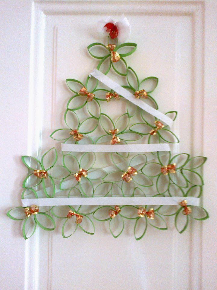 Cardboard tubes are recycled into a great little Christmas tree. use toilet paper rolls, paper towel rolls or if you are at my house the empty tulle rolls that are everywhere