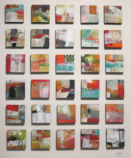 """Jane Davies, """"collage journeys"""": Pattern and Process, 4"""" x 4"""" on glass"""