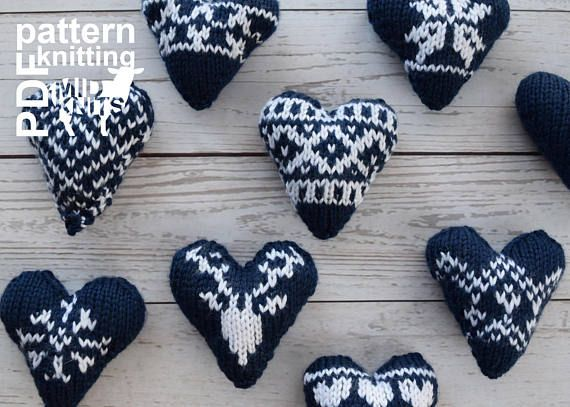 DIY Knitting PATTERN Knit Fair Isle Hearts Size: 4