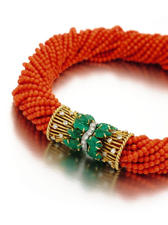 A red coral Cartier necklace with emeralds and diamonds which belonged to the Duchess of Windsor. 1949.